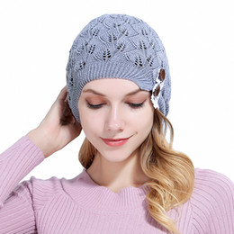 Leaves Lace online shopping - 2019 New Knitted Hat Gorros women hat Leaves Lace Button Wool warm hats beret hedging Cap Winter women beanie