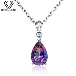 Discount jewelry mystic fire topaz pendant - DOUBLE-R 925 sterling silver Water Drop Necklaces & Pendants for women Rainbow Fire Created Mystic Topaz Fine Jewelry