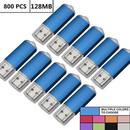Thumb Flash Drive Australia - Wholesale Bulk 800PCS 128MB USB Flash Drives Rectangle Memory Stick Storage Thumb Pen Drive Storage LED Indicator for Computer Laptop Tablet