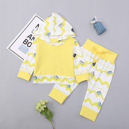 Branded Baby Kids Clothes Australia - good quality Fashion Girls Clothing Set 2019 Baby Girls Suit Striped Print Hooded Tops+Pants kids clothes Brand Infant Clothing roupa