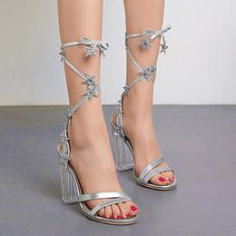 Designer Crystals Australia - 2019 silver ankle wrap crystal heel wedding shoes luxury designer sandal size 35 To 40