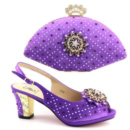 Green Women Shoes Ribbon Lace UK - D722-purple New Arrival Wedding Shoe and Bag Sets Italian Matching Shoes and Bag Set in Heel African Shoes and Bags Rhinestone Wedding Shoes