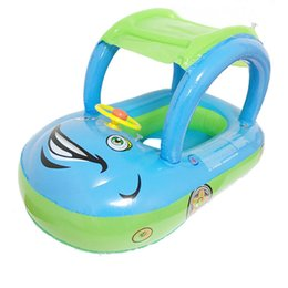 China Inflatable Children Float Seat Boat Baby Swimming Ring With Awning Car Seat Steering wheel Water Sport Toy Swim Pool Accessories cheap toy car steering suppliers