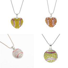 $enCountryForm.capitalKeyWord Australia - Hot Selling Heart Shape Baseball Necklace Diamond Inlaid Clavicle Chain Women Fashion Jewelry Fit Party Decor 4 5yh K1