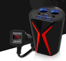 sockets car cigarette adapter 2019 - Car Styling Charger Cup Type Cigarette Lighter Power Adapter Socket 6.2A 12V-24V 3 Port USB Multi-function Voltage Detec