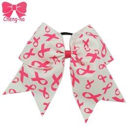 "$enCountryForm.capitalKeyWord NZ - Wholesale- 8"" High Quality Big Cheer Bow With Elastic Band Fashion Pink Breast Cancer Cheerleading Bows Handmade Hair Accessories 3Pcs lot"