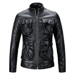 Faux leather jackets designer casual slim online shopping - 2019 Mens Designer Leather Jackets New PU Casual Slim Short Motorcycle Pockets Mens Coat Faux Fur Streetwear Vintage Thick Size M XL