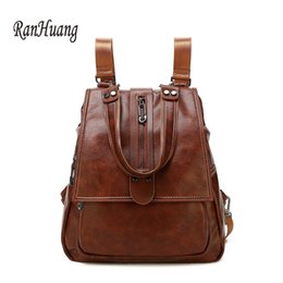 Discount teenage girl shoulder bags - RanHuang Fashion Women Backpack Genuine Leather Backpack Preppy Style Teenage Girls School Bags Vintage Shoulder Bags A1