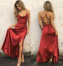 $enCountryForm.capitalKeyWord Australia - In Stock Sexy Side Split Long Prom Dresses 2019 Halter Neck Lace Up Back Maid of Honor Party Cocktail Gowns Evening Cheap