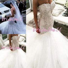 $enCountryForm.capitalKeyWord NZ - New Beading Pearls Tulle Mermaid African Wedding Dresses 2019 Sweetheart Robes de mariée Appliqued Lace Bridal Gowns Plus Size Wedding Dress