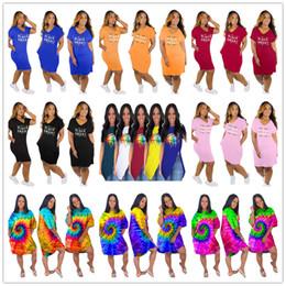 $enCountryForm.capitalKeyWord NZ - Women Summer t shirt Dresses Tie-dye Sexy Irregular V-Neck Skirts Black Smart Letters Casual Dress Rainbow Lips Printed Loose Dresses C73102