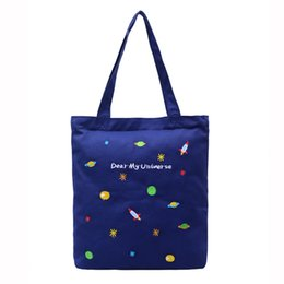 pocket books handbags 2019 - Candy Color Girls Tote Bag Exquisite Embroidery Cartoon Universe Printed Students Book Handbag With Pocket Inside Safe S