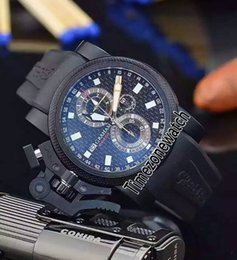 Luxury Watches Oversize Australia - New Chronofighter Oversize Commander 20VATCO PVD Steel Black Carbon Fiber Dial Quartz Chronograph Mens Watch Stopwatch Black Rubber GHM10b2