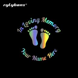 love stickers Australia - 12.7*12.7cm Car Styling In Loving Memory Baby Footprints Car Stickers and Decals Window Vinyl Sticker for Auto Products