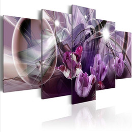 China ( No Frame)5PCS Set Modern Purple Tulips Flower Art Print Frameless Canvas Painting Wall Picture Home Decoration cheap modern art canvas painting flowers suppliers