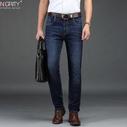 $enCountryForm.capitalKeyWord Australia - Nigrity 2019 Autumn Winter New Men's Straight Casual Jeans Fashion Thick Denim Trousers Dark Blue Male Pant Big Size 29-42 C19042201