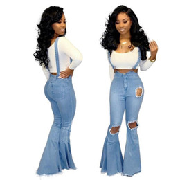 vestidos blue jeans NZ - Casual Ripped Denim Jumpsuit Women Fashion Blue Wide Leg Pant Romper Pleated Spaghetti Strap Overalls Vestidos pants hole jeans