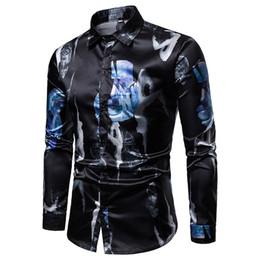 $enCountryForm.capitalKeyWord Australia - New Trendy Shirt Men Flower Printed Long Sleeve Casual Shirts 2019 Spring Autumn Mens Clothes Stretch Tuxedo Slim Fit Shirt Men