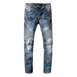mens european style long t shirts 2019 - 2019 Classic Balmain Jeans mens designer t shirts Punk Summer Straight Comfortable Fashion Knee Length Jeans Men Women C