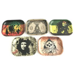 Wholesale Metal Rolling Trays Bob Marley Tray Cm Cm Cm Papers Pattern Leaf For Glass Bong Smoking Accessories Dish Plate Herb Handroller