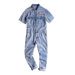 Overall Suits Australia - Summer Denim Overall with Short Sleeve Jacket Single Breasted Work Suit Male Loose Long Jeans Jumpsuit Men's Bib Overalls Jeans