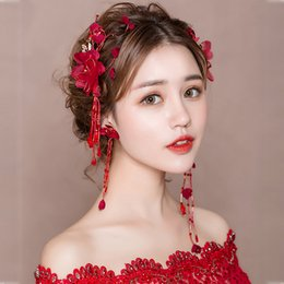 $enCountryForm.capitalKeyWord Australia - Red Fabric Flower Hair Clips Costume Party Women Headdress Side Clip Accessories Wedding Bridal Barrettes with Long Drop Earring