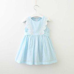 Kid dresses Korea online shopping - Sweet New Kids Girls Clothes Korea Dress Sleeveless with Lace trim Sweet Partysu Jacquard Dots Dresses Y