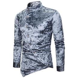 Wholesale oblique button shirt resale online – Yfashion Fashion Oblique Button Plush Surface Men Shirts Irregular Stand Neck Long Sleeve Shirt Mens Tops Male Elegant Shirts
