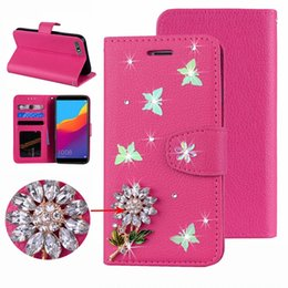 Diamond Id Wallet Australia - Butterfly Leather Wallet Case For Iphone XS MAX XR X 8 7 SE Touch 6 5 Galaxy S10 e Bling Diamond Flower ID Card Slot Flip Cover Luxury Strap