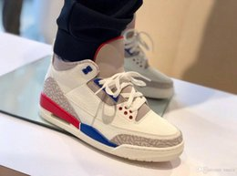 2d1b9991c89a 3 USA Charity Game White Cement Blue Red International Flight 3 III Men  Basketball Shoes 136064-140 2018 Authentic Sneakers Shoes With Box