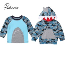 Camo Clothing T Shirts Australia - 2019 Brand New Toddler Kid Baby Boy Summer Camo Shark Tops Long Sleeve Tops T-Shirt  Hooded Pullover Animal Print Clothes