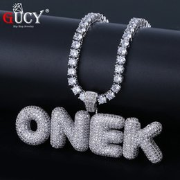 Necklaces Pendants Australia - Gucy A-z Custom Name Bubble Letters Pendant & Necklace Charm Men's Cz Hip Hop Jewelry With Gold Silver Tennis Chain J190625