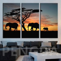 pictures elephants painted canvas 2019 - Modular Canvas Home Decor Sunset Hd Print Animal Elephant Painting Poster Modern Wall Artwork Pictures For Living Room F