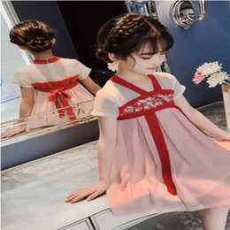 Fairy Style Dresses UK - Girls dress summer dress 2019 new children's skirt tide summer long section super fairy Chinese style Hanfu foreign gasD210