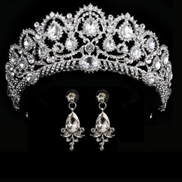 Bride hair extensions online shopping - wedding crown queen bridal Tiaras bride crown with earrings headband Wedding Accessories diadem mariage hair jewelry ornaments