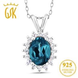 London pendants online shopping - GemStoneKing Ct Oval Natural London Blue Topaz Sterling Silver Vintage Pendant Necklace For Women Fine Jewelry
