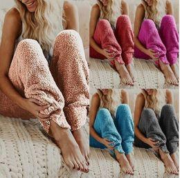 Womens casual trousers online shopping - Womens Lounge Sleep Pants Adult Pajama Bottoms Warm Plush Fleece Trousers Sleep Pajama Night Wear Solid Color Long Pants LJJK1142