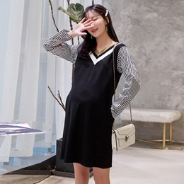clothing for nurses Australia - 8071# V Neck Patchwork Thick Maternity Nursing Dress Autumn Winter Fashion Breastfeeding Clothes for Pregnant Women Pregnancy