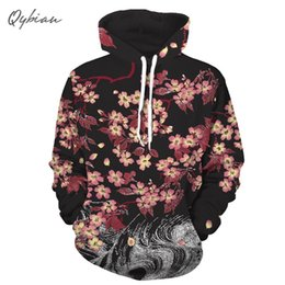 japanese clothes sweatshirt 2019 - 2018 Hip hop Japanese style Cherry blossoms Mens 3d Print Sweatshirt Unisex Brand Clothing Cap Hoody Casual Pullovers St