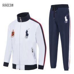 Wholesale hot leisure suit resale online – Hot style men casual jogging tracksuit brand new spring autumn fashion horse sports suit High quality men s leisure jacket pant sui