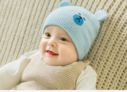 1bea5d480e5 2018 New Arrival Baby Hat Boy Girls Hat Knitted Woolen Hat Red Beige Gray  Cambridge Blue Pink Cartoon Bear Woolen Yarn 5pcs lot