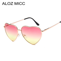 China ALOZ MICC 2019 Heart Shaped sunglasses woman Lovely shades Sun Glasses for women candy color metal frame girl sunglass mirror lunette soleil cheap butterfly candy blue suppliers