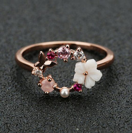 Resin Rose floweR Ring online shopping - Fashion Creative Butterfly Flowers Crystal Finger Wedding Rings for Women Rose Gold Zircon Glamour Ring Jewelry Girl Gift Bijoux