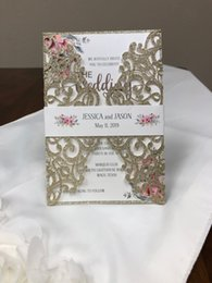 Flat Envelope NZ - 2019 Stunning Lace Glitter Champagne Gold Laser Cut Gatefold Wedding Invitation Blush Floral Wedding Invite with Envelope Free Shipping