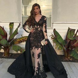 125db6cd63 Generous V Neck Evening Dresses with Beaded Black Lace Applique Overskirts Celebrity  Party Formal Prom Dresses