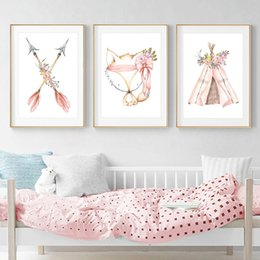 spray tents NZ - 3pcs Kids Room Poster Nordic Baby Indian Tent Rabbit Arrow Prints Children Bedroom Decoration Nursery Wall Canvas Painting Gifts Unframed