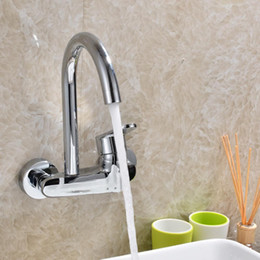 modern kitchen faucets NZ - Kitchen In-wall Cold Hot Single Hole Water Sink Faucets Modern Wall Bathroom Clothes Washing Pool Faucet