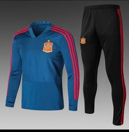Spain Soccer team online shopping - 2018 World Cup Spain adult Training suit Spain national team Ramos Isco Silva Fabregas CHANDAL Men TRACKSUIT