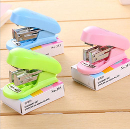 children stationery wholesalers NZ - Wholesale creative student mini color stapler set children cute gift stapler learning office stationery binding machine