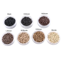 $enCountryForm.capitalKeyWord Australia - (1000pcs bottle) 7 bottles 2.5x1.5x1.6mm copper nano ring beads no silicone micro link hair extension tools 7 colors choice